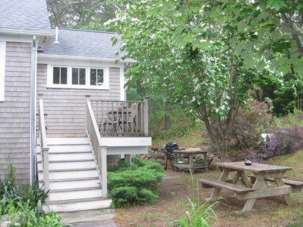 Truro Center Cape Cod vacation rental - Gardens and grilling area steps to the beautiful outdoor shower