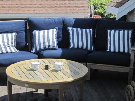 Dennis Cape Cod vacation rental - Upstairs deck with sectional, 2 lounge chairs and 5 chairs