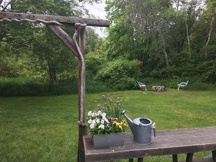 Brewster Cape Cod vacation rental - Fire pit just 50 feet from deck