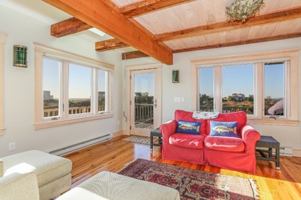 Truro Cape Cod vacation rental - Living room that opens to the deck