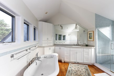 TRURO Cape Cod vacation rental - Master Bath with Tub, Glass Shower and 2nd washer/dryer