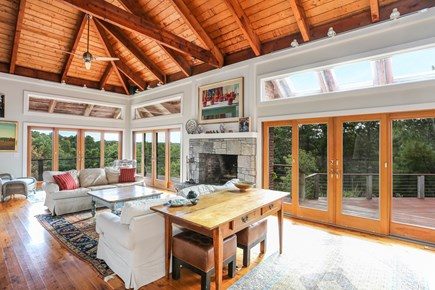 TRURO Cape Cod vacation rental - Partial View of the Living Room which Opens to Decks