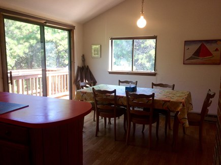 Truro Cape Cod vacation rental - Dining area to outside wrap around deck