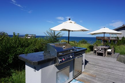 Truro Cape Cod vacation rental - Fabulous grilling station with sink and refrigerator.