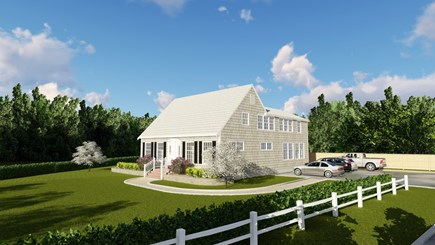 Dennis, Mayflower Beach Cape Cod vacation rental - Side view of house with parking for 10 cars