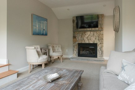 Dennis, Mayflower Beach Cape Cod vacation rental - Second Floor Den with Fireplace & TV