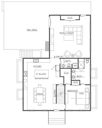 Dennis, Mayflower Beach Cape Cod vacation rental - First floor plan-all new renovation-big kitchen & den