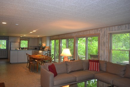 Cotuit Cotuit vacation rental - Comfy living room opens up to dining room and kitchen and deck.