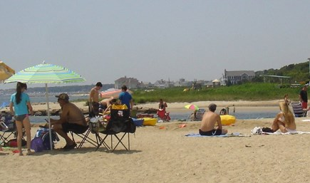 West Yarmouth Cape Cod vacation rental - Beachgoers enjoying Colonial Acres Beach, facing Hyannis Harbor.