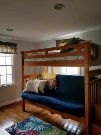 Dennisport Cape Cod vacation rental - Guest room has a double bunk bed with pull out drawer staircase