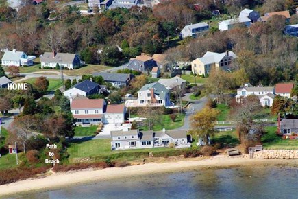 Hyannis Cape Cod vacation rental - Aerial showing distance to Beach