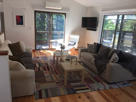 Wellfleet Cape Cod vacation rental - Living room with sliders to large deck