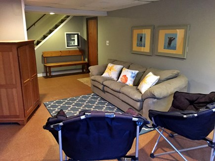 Brewster Cape Cod vacation rental - Partially finished basement with sleeper sofa, mini fridge, w/d
