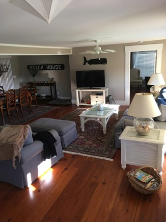 West Dennis Cape Cod vacation rental - Open family room and dining area