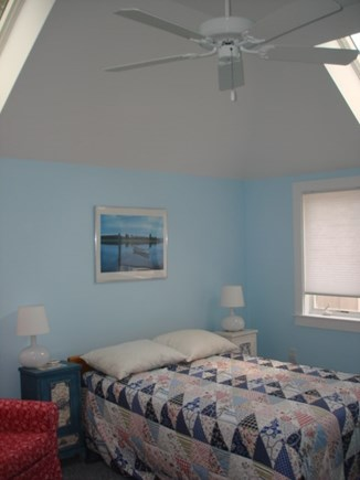 Wellfleet Cape Cod vacation rental - Bedroom with ceiling fan and skylights.