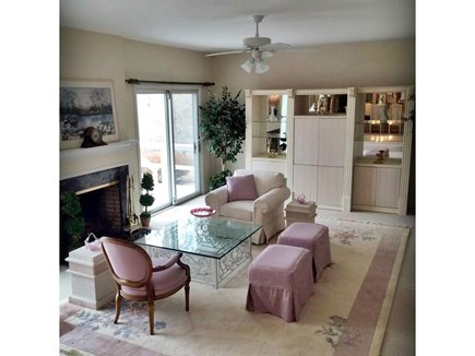 Falmouth Cape Cod vacation rental - Sunken living room with sliders to deck and view of Jones Pond