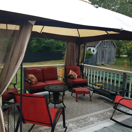 Sandwich Cape Cod vacation rental - Deck: spacious with seating for 6 and small fire pit table.