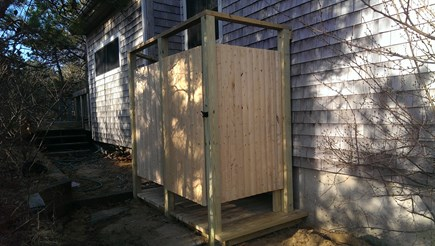 Truro Cape Cod vacation rental - Outdoor shower with dressing area