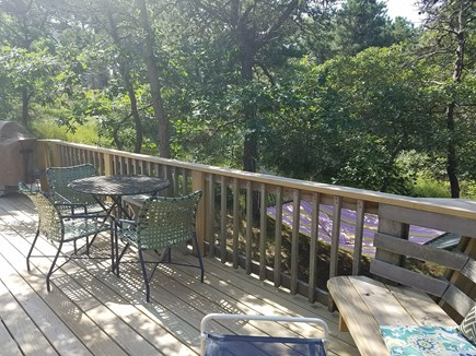 Truro Cape Cod vacation rental - Another view of back deck with hammock in trees off deck