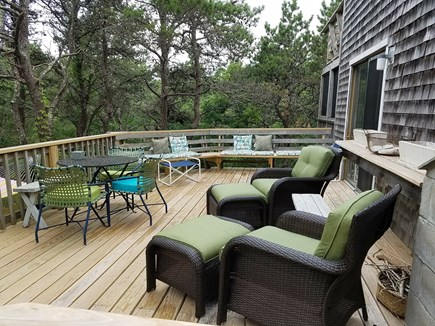 Truro Cape Cod vacation rental - Back deck with slider to dining area and kitchen