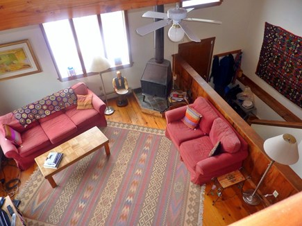 Truro Cape Cod vacation rental - View looking down to  living room from balcony