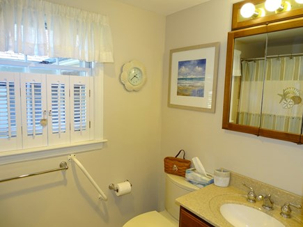 West Harwich Cape Cod vacation rental - Main floor full bathroom with tub, hand rails