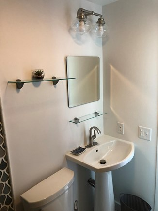 Provincetown Cape Cod vacation rental - New bath with pedestal sink - includes daily towel service.