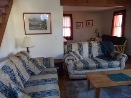 Dennis Cape Cod vacation rental - Living Room with Queen Size Futon in the back section.