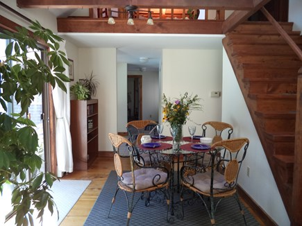 Dennis Cape Cod vacation rental - The 'Bistro' area just off the kitchen overlooks the pool.