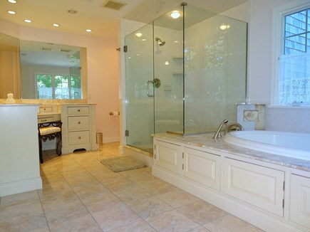 Barnstable Village Cape Cod vacation rental - Master bath-extra large glass walk in shower and Jacuzzi