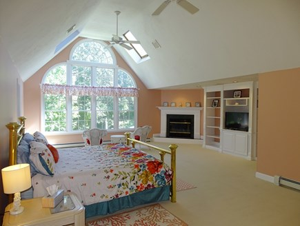 Barnstable Village Cape Cod vacation rental - Huge King master bedroom - Overlooking pool and plush gardens