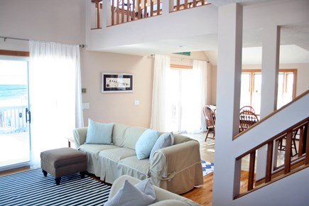 Sandwich, Town Neck Cape Cod vacation rental - TV living room with sliders to beach side deck