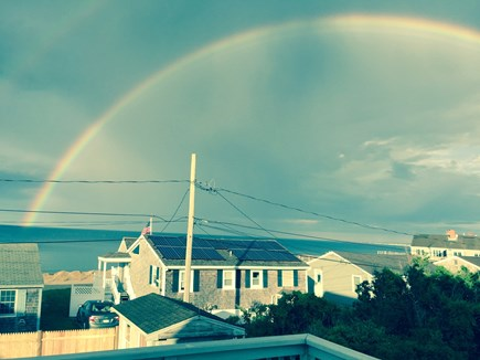 Sandwich, Town Neck Cape Cod vacation rental - Rainbow over beach from deck