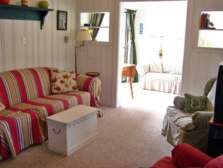 Dennisport Cape Cod vacation rental - Living Room and view to sunroom