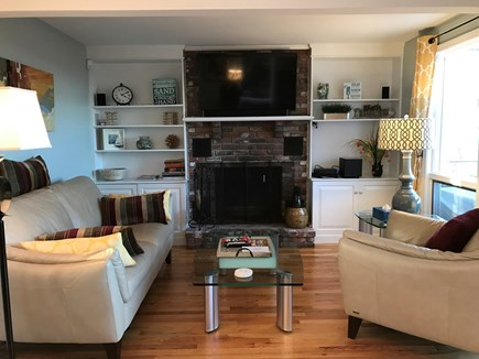 Provincetown Cape Cod vacation rental - Living room with fireplace and TV