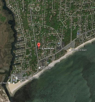 South Yarmouth Cape Cod vacation rental - Google Earth view - 1/10 mile from the beach