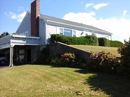 North Falmouth Cape Cod vacation rental - House, lawn and raised deck from driveway