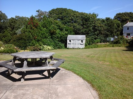 North Falmouth Cape Cod vacation rental - Back yard and patio with picnic table