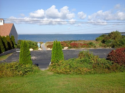 North Falmouth Cape Cod vacation rental - Boardwalk,beach and ocean from LR picture window