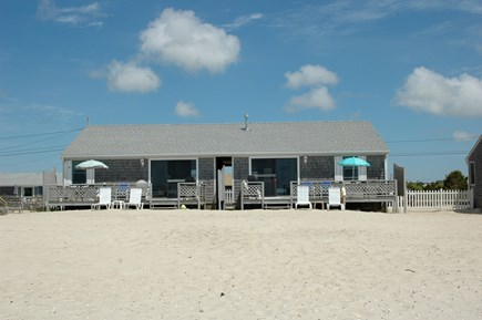 West Dennis Cape Cod vacation rental - Front of Cottage from Beach-Soft white sandy beach