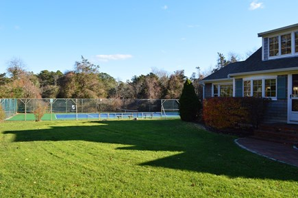 East Dennis Cape Cod vacation rental - Front of house and tennis court