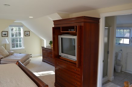 East Dennis Cape Cod vacation rental - King master bedroom and bath above garage
