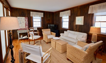 Orleans Cape Cod vacation rental - Spacious living room with tv, sliders onto screened-in porch