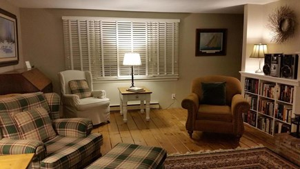 Eastham Cape Cod vacation rental - Living Room with view of Rear yard (when blinds are open)