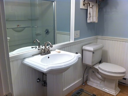 Eastham Cape Cod vacation rental - Main Bath, 1st Floor, with tub/shower combo, sliding glass doors