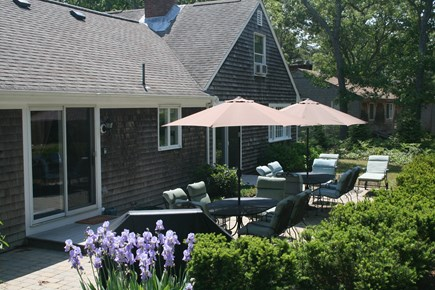Eastham Cape Cod vacation rental - Rear Stone Patio, with Gas Grille and Seating for 12