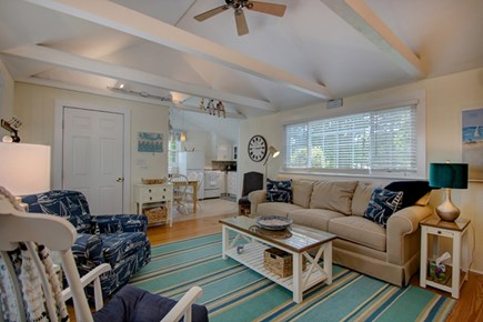 Hyannisport Cape Cod vacation rental - Living Room is comfortable w lg flatscreen tv and ocean views.