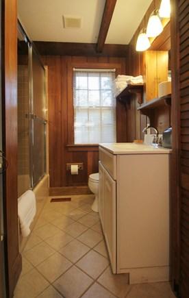 Hyannisport Cape Cod vacation rental - Bathroom has tub/shower and wshr/dryer.