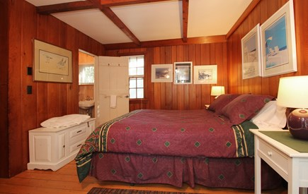 Hyannisport Cape Cod vacation rental - The Master Bedroom has a queen size bed and 1/2 bath.