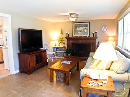 Yarmouth Cape Cod vacation rental - Living area with fireplace